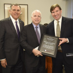 Former Senator Mel Martinez presents 2017 Veteran Jobs Mission Service Award to Senator John McCain with JPMorgan Chase Head of Military & Veterans Affairs Ross A. Brown at the Veteran Jobs Mission reception. (Photo: Business Wire)