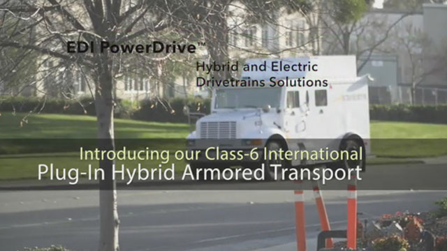 Efficient Drivetrains integrates its EDI PowerDrive 6000 into an International Armored Truck to deliver a Plug-in Hybrid Electric version with RNG range extension.