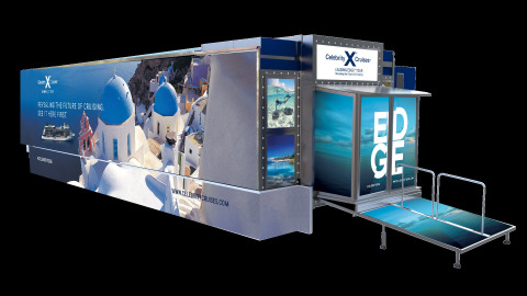 Celebrity Cruises' new, unique 'Leading Edge Mobile Cinema' is taking the story of Celebrity Edge℠ on a cross-country journey, including six stops open to the general public in Southern California, from April 8 through April 22. (Photo: Business Wire)