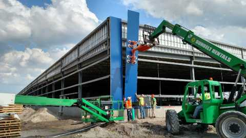 Iconic blue panels to transform future IKEA Jacksonville as construction progresses on store opening fall 2017. (Photo: Business Wire)