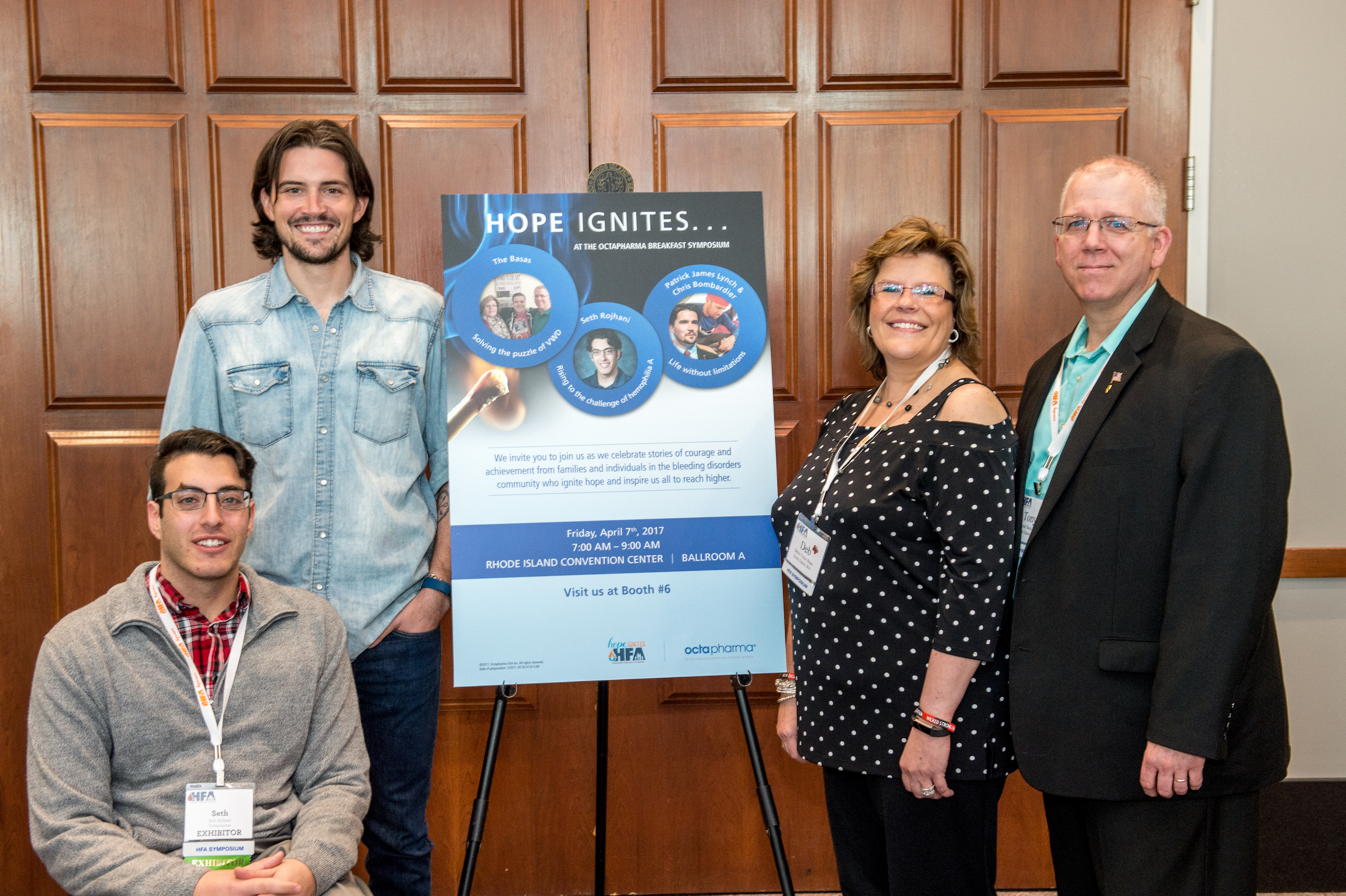 "The speakers from the Octapharma USA sponsored program ""Hope Ignites: Stories to Inspire,"" during the Hemophilia Federation of America Annual Symposium, are (from left) Seth Rojhani, Patrick James Lynch, Debra Basa, and Tony Basa. (Photo: Business Wire)"