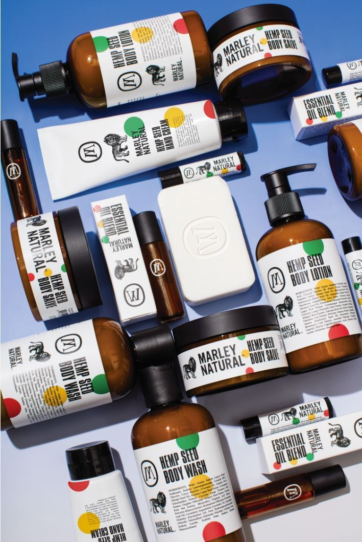 The Marley Natural body care line offers naturally-derived formulas that blend the moisturizing power of hemp seed oil with Jamaican botanicals (including ginger, lemongrass, turmeric, and cerasse). (Photo: Business Wire)