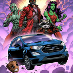 Ford EcoSport, Groot, Star-Lord, Gamora, Drax and Rocket will appear in a limited 500 print run comic book that will also be published digitally online for a short period. (Graphic: Business Wire)