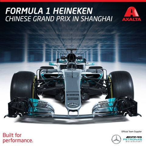 Axalta was an Official Team Supplier to Mercedes-AMG Petronas Motorsport at the 2017 Formula One(TM) Heineken Chinese Grand Prix in Shanghai (Photo: Axalta)