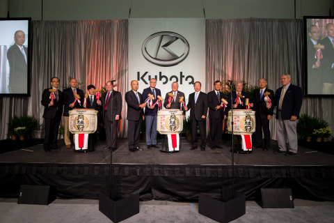 From left to right: Haruyuki Yoshida, Managing Executive Officer Kubota Corp.; Brian Jones, COO, Gray Construction; Takashi Shinozuka, Consul General of Japan in Atlanta; Brian Arnold, Chief Manufacturing Officer, KMA; Henry Kubota, President KMA; Casey Cagle, Lt.  Governor of Georgia; Nathan Deal, Governor of Georgia; Masatoshi Kimata, President, Kubota Corp.; Ken Kitao, Senior Managing Executive Officer, Kubota Corp.; Philip Wilheit, Chairman Gainesville Hall County Development Authority; Masato Yoshikawa, President KTC; Richard Higgins, Chairman, Hall County Board of Commissioners. (Photo: Business Wire)