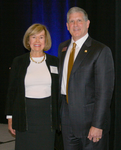 Connie Codding, executive vice president of Codding Enterprises and president of the Codding Foundation with Gary Hartwick, president and CEO of Exchange Bank. (Photo: Business Wire)