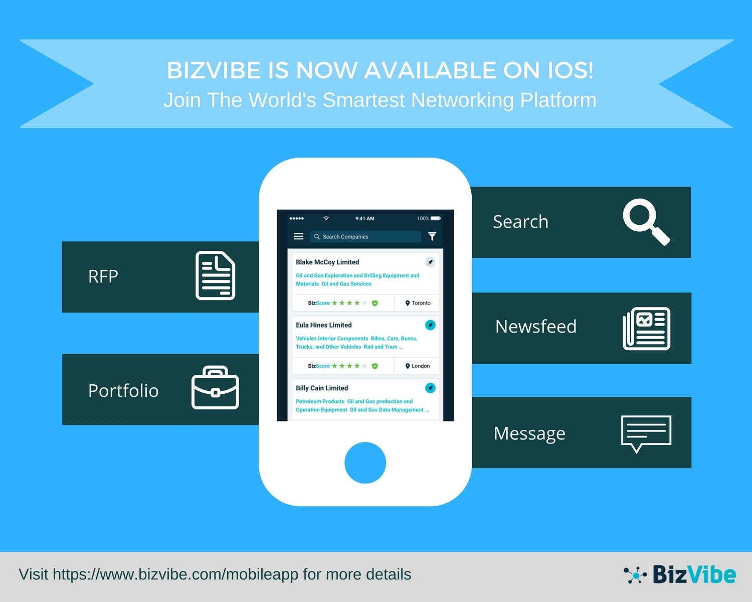 BizVibe announces their B2B marketplace platform is now available for iOS. (Graphic: Business Wire)