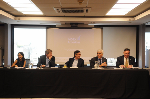 (From left to right) Maria Julia Diaz Ardaya, Manager CSR and Sustainability, Grupo Clarin; James M Scriven, Chief Executive Officer, Inter-American Investment Corporation (IIC); Luis Alberto Moreno, President, Inter-American Development Bank (IDB); Jorge Rendo, President, Grupo Clarín; and José Aldrich, Acting Dean, FIU College of Business, at the launch of IndexAmericas. (Photo: Business Wire)