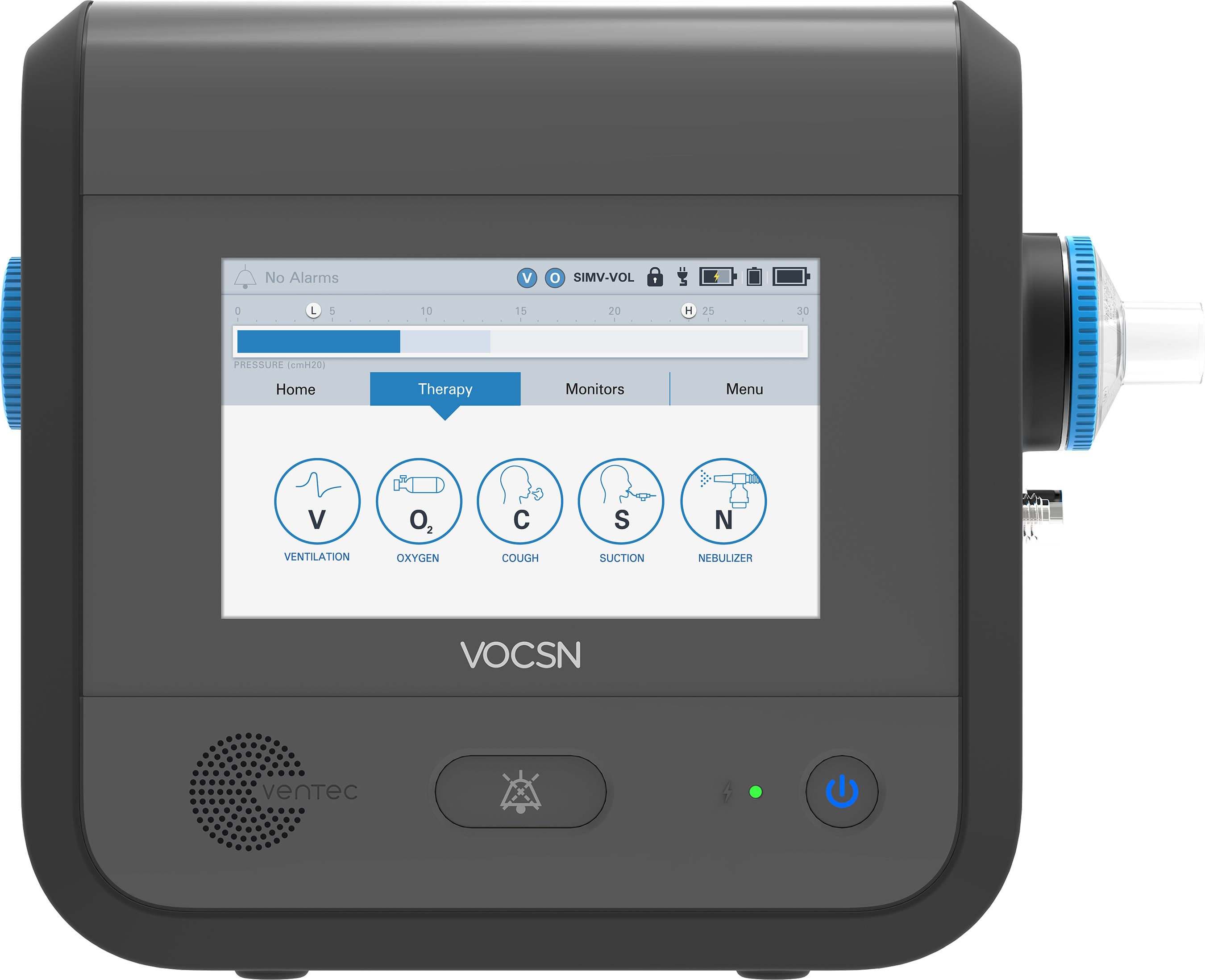 VOCSN integrates five separate medical devices, including a ventilator, oxygen concentrator, cough assist, suction, and nebulizer, into one unified respiratory system. (Photo: Business Wire)