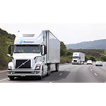 Two Volvo VNL 670 trucks platooning using the Peloton System. (Photo: Business Wire)