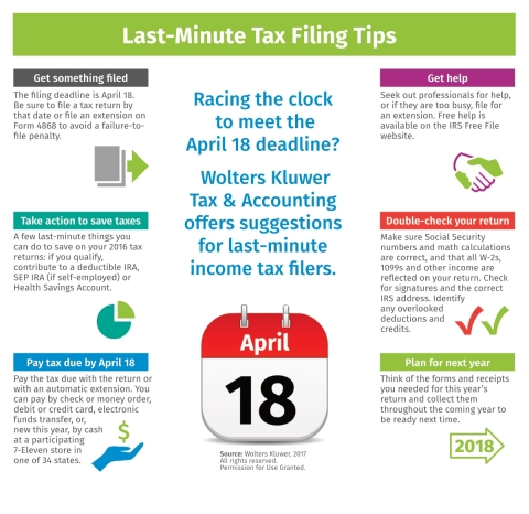 Last-Minute Tax Filing Tips from Wolters Kluwer Tax & Accounting (Graphic: Business Wire)