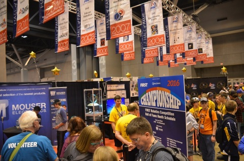 Mouser Electronics will be a major sponsor of the FIRST Championship, April 19-22 in Houston and April 26-29 in St. Louis. The annual robotics event, which fosters STEM education, attracts thousands of high school teams from across the globe. Mouser is sponsoring the Hall of Fame area (pictured), which honors past winners of the Chairman's Award. Photo from 2016 FIRST Championship. (Photo: Business Wire)