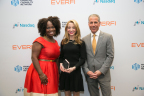 Accepting the Financial Capability Innovation Award on behalf of BankUnited were Naima Oyo, Vice President; Melissa Sama, assistant vice president; and Joe Roberto, President, New York region. (Photo: Business Wire)