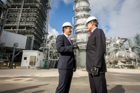 U.S. Secretary of Energy Rick Perry (right) joins NRG Energy CEO Mauricio Gutierrez (left) on a tour of the Petra Nova carbon capture and enhanced oil recovery system on Thursday, April 13, 2017, in Fort Bend County, southwest of Houston. Petra Nova, a 50-50 joint venture by NRG Energy and JX Nippon Oil & Gas Exploration, captures more than 90 percent of CO2 from a 240 MW equivalent slipstream of flue gas off an existing coal-fueled electrical generating unit at the WA Parish power plant and uses it to increase oil production at a mature oil field owned by Petra Nova and Hilcorp Energy. (Photo: Business Wire)