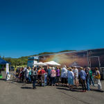 "Photo taken by Kingsley Hurley. SIFF Attendees line up eagerly outside the Celebrity Cruises Mobile Cinema for the Sunday, April 2nd screening of ""Goddesses of Food."""