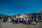 """Photo taken by Kingsley Hurley. SIFF Attendees line up eagerly outside the Celebrity Cruises Mobile Cinema for the Sunday, April 2nd screening of """"Goddesses of Food."""""""