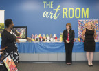 """Andrea Barton Reeves, president and CEO of Harc, Inc. (left) shared details about its 2017 Greater Hartford Arts Council (GHAC) 2017 """"Arts + Wellness"""" Grants project """"Harc Arts Day"""" at a reception with other GHAC grant recipients, and UnitedHealthcare and GHAC staff, including Elizabeth Winsor, CEO, UnitedHealthcare National Accounts (center), and Cathy Malloy, CEO, GHAC (right). Grants, supported by UnitedHealthcare, were given to four local arts organizations to produce programs that use creativity to enrich the lives and enhance the health and well-being of adults with physical disabilities and their families. [PHOTO CREDIT: Alan Grant, Digital Creations]"""