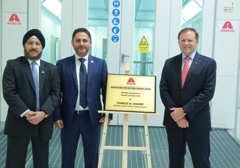 (from left to right) Sobers Sethi, VP and President, Emerging Markets, Fadi Medlej, Managing Director of Middle East and North Africa, and Charlie Shaver, Chairman and CEO of Axalta Coating Systems inaugurate Axalta's Dubai Auto Refinish Training Center  (Photo: Axalta)