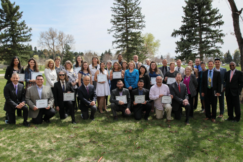 Pictured are the student leaders and their presidents from 13 community colleges that were honored at the April 11, 2017 Colorado Community College System Rising Star Awards. (Photo: Business Wire)