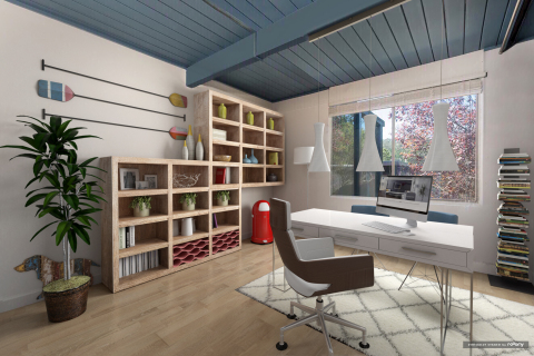 Home office with BuildDirect flooring. (Photo: roOomy)