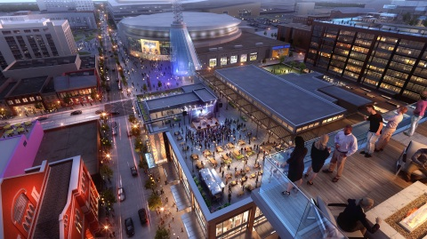 The amenity deck of 501 Commerce (Fifth + Broadway's Class A office building) overlooks the vibrant rooftop of Fifth + Broadway's retail and entertainment center. To the right is the base of the apartment complex. Image also shows project's immediate proximity to Bridgestone Arena and The Ryman Auditorium. (Photo: Business Wire)