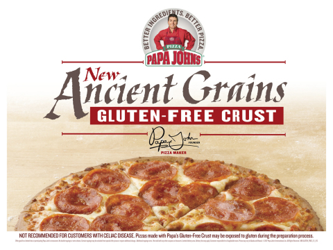 "Papa John's continues to reinforce its commitment to BETTER INGREDIENTS. BETTER PIZZA. and providing consumers with quality menu options and ""clean"" ingredients by introducing another new pilot—Gluten-Free Crust made with Ancient Grains. (Photo: Business Wire)"