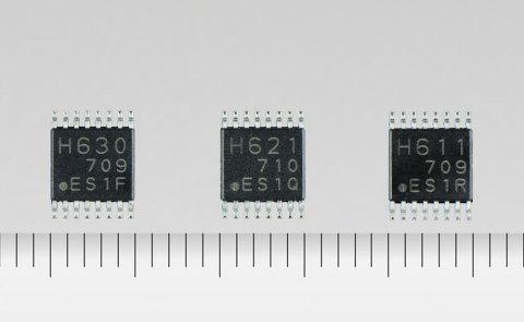 東芝:DCブラシ付モータやステッピングモータ向けの電圧駆動対応HブリッジドライバICシリーズに、2.5V低電圧駆動に対応した「TC78H630FNG」、「TC78H621FNG」、「TC78H611FNG」を追加。 (写真:ビジネスワイヤ)