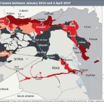 Islamic State Territorial Losses Between January 2015 and 3 April 2017 (Graphic: Business Wire)