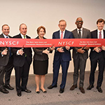 The New York Stem Cell Foundation (NYSCF) holds official ribbon cutting ceremony to open new NYSCF Research Institute & Headquarters. Pictured: Howard Zemsky (President, CEO & Commissioner, Empire State Development); Roy Geronemus MD,(Founding Chairman of the Board for NYSCF); Michael R. Bloomberg, Founder, Bloomberg LP & Bloomberg Philanthropies and three term New York City Mayor; Susan L. Solomon (CEO & Co-Founder of NYSCF); Stephen M. Ross (Chairman & Founder of Related Companies, NYSCF Board Member); Tony Coles MD (Chairman & Founder, Yumanity Therapeutics); James Patchett (President & CEO, New York City Economic Development Corporation) (Photo credit: Bloomberg Philanthropies)
