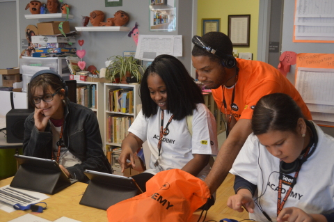 Teens attend Best Buy's opening Geek Squad Academy camp in South Boston this week, the first of 40 free, two-day tech camps that will reach 8,500 young people across the country this summer. (Photo: Business Wire)
