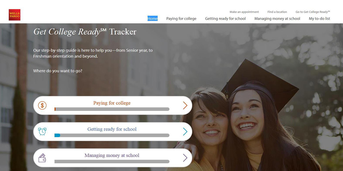 Wells Fargo Get College Ready℠ Tracker tool as seen from a desktop computer. (Photo: Business Wire)