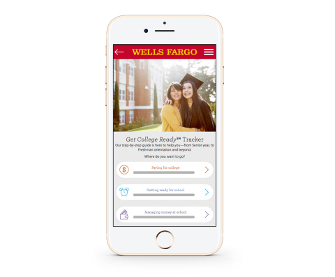 Wells Fargo Get College Ready℠ Tracker tool as seen from a mobile device. (Photo: Business Wire)