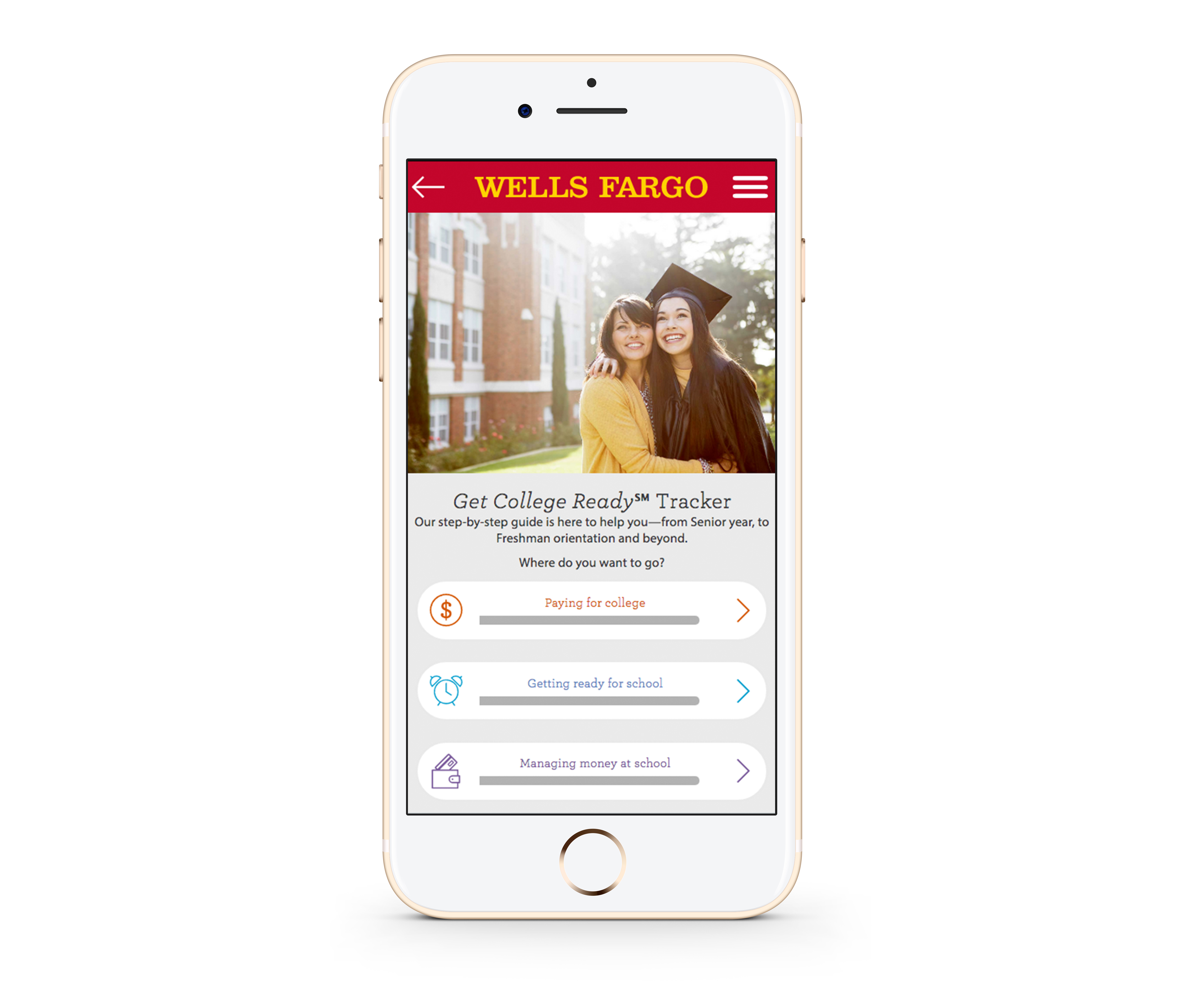 Wells Fargo Get College Ready℠ Tracker tool as seen from a mobile device