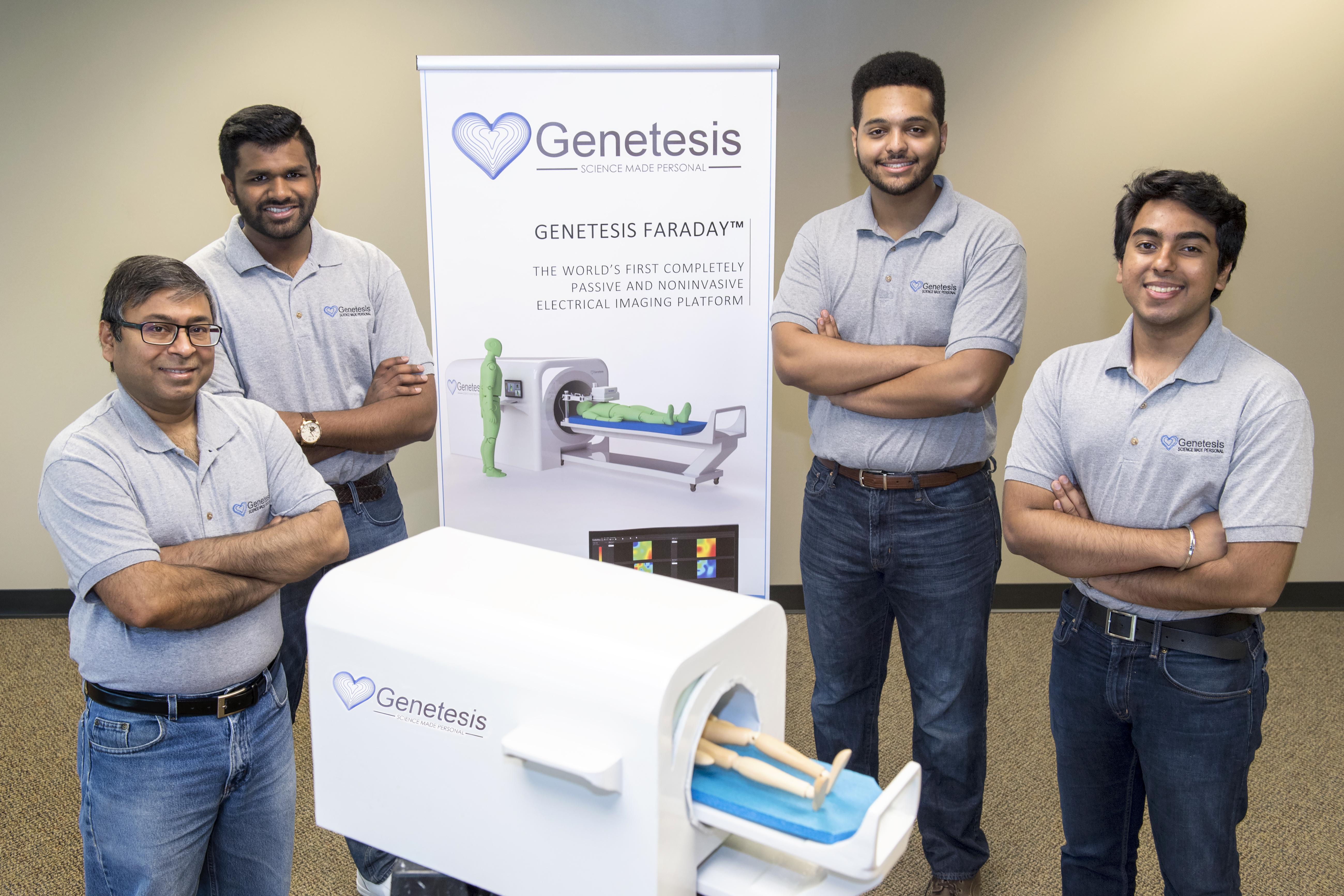 From left, leadership of Genetesis: Chandan Srivastava, CFO, Vineet Erasala, COO, Manny Setegn, CTO, and Peeyush Shrivastava, CEO, show a small scale prototype of the CardioFlux imaging system. (Photo: Business Wire)