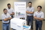 From left, leadership of Genetesis: Chandan Srivastava, CFO, Vineet Erasala, COO, Manny Setegn, CTO, and Peeyush Shrivastava, CEO, show a small scale prototype of the CardioFlux imaging system. (Photo: Business Wire)