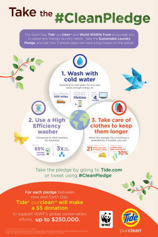 The Sustainable Laundry Pledge tasks consumers with making three small changes to their everyday laundry routine in order to make a big impact on the planet. (Graphic: Business Wire)