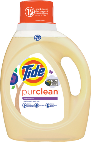 Tide purclean is 65% plant-based and produced at a facility that uses 100% renewable wind power electricity and is a zero manufacturing waste to landfill site. (Photo: Business Wire)