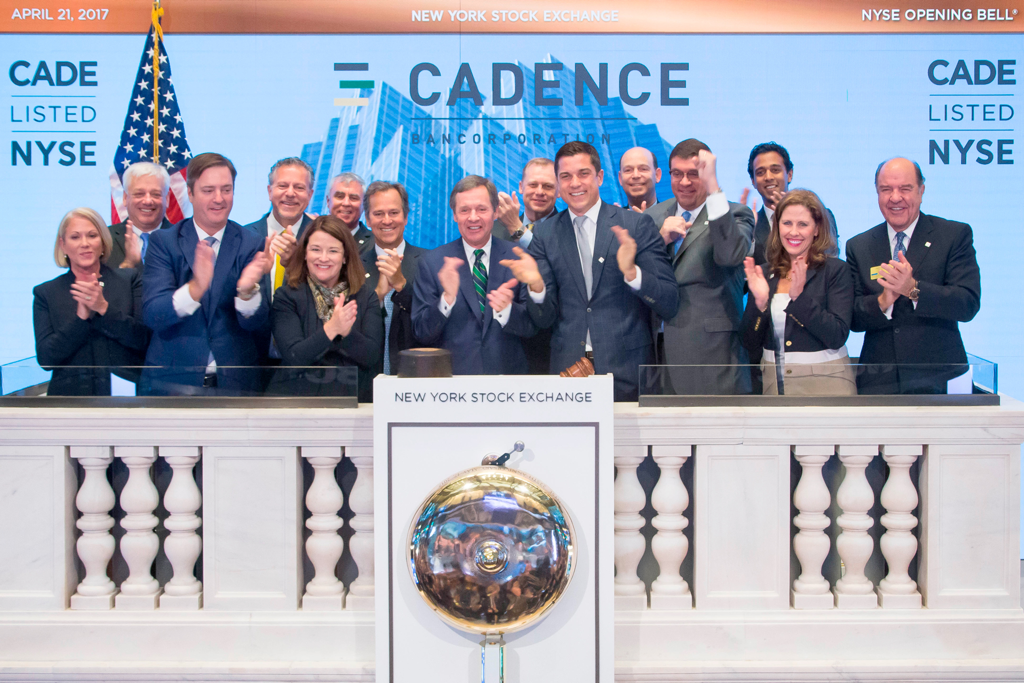 Executives and guests of Cadence Bancorporation (NYSE: CADE) visited the New York Stock Exchange today to commemorate the company's initial public offering and listing on April 13, 2017. In celebration of this occasion, Paul B. Murphy, Jr., chairman and CEO of Cadence Bancorporation, rings the Opening Bell. (Photo Credit: NYSE)