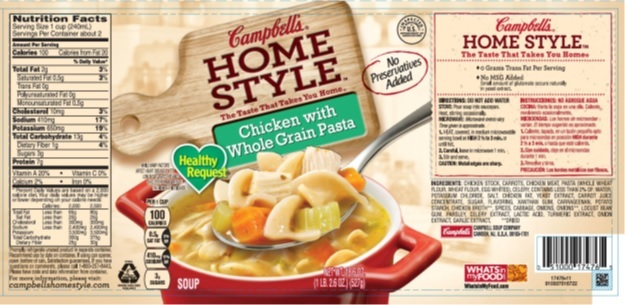 """Campbell Soup Company is voluntarily recalling approximately 300 cases of Campbell's Homestyle Healthy Request Chicken with Whole Grain Pasta soup. Due to possible mislabeling, the cans may actually contain Campbell's Homestyle Healthy Request Italian Style Wedding soup which contains milk, a known allergen. The products were shipped to retail locations in Florida and are marked """"EST. 4R"""" on the bottom of the cans. (Photo: Business Wire)"""