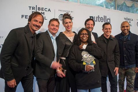On Saturday, April 22, 2017, Escape, one of the most anticipated animated short films premiered at the Tribeca Film Festival. Escape utilizes Dolby Vision and Dolby Atmos to present a euphoric vision of the future. The animated shorts program selections were curated by Whoopi Goldberg. Pictured from left to right, executive producer Vince Voron, producer and screenwriter Angus McGilpin, composer Imogen Heap, actress and comedian Whoopi Goldberg, score designer Nick Ryan, director Brandon Oldenburg, and director Limbert Fabian. (Photo: Business Wire)