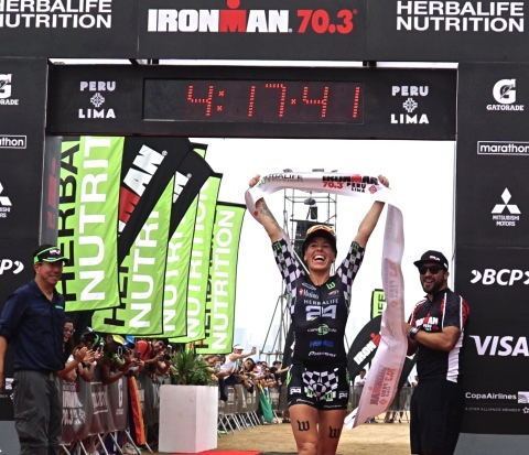 """Herbalife Nutrition Sponsored Triathlete Heather Jackson Wins IRONMAN 70.3 Peru and Donates Proceeds to the Peruvian People Affected by the Floods. Herbalife Nutrition sponsored triathlete Heather Jackson wins the IRONMAN 70.3 Peru and will donate all proceeds to help the people of Peru affected by the floods. """"The people of Peru inspired me during the race, and Herbalife Nutrition fueled me as I pushed through,"""" said Jackson. """"I'm always so grateful for the opportunity to race and meanwhile, thousands of people have lost their homes. Peru, Herbalife Nutrition, and the entire Herbalife Nutrition community have given me so much in so many ways that it is the least I can do to give back to this wonderful country."""" Jackson completed the race with a time of 4 hours, 12 minutes and 41 seconds. Her next race is the IRONMAN in Chattanooga, TN, on May 21. (Photo: Business Wire)"""