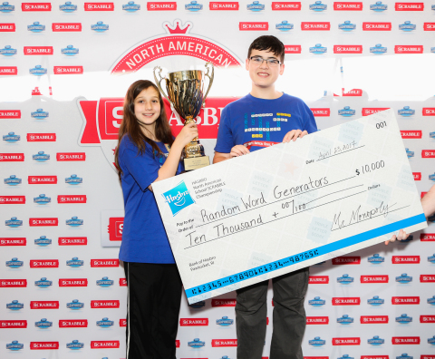 Jem Burch and Zach Ansell, from Los Angeles, Calif. took home the title of 2017 North American School SCRABBLE Champions at Gillette Stadium in Foxborough, Mass. (Photo: Business Wire)
