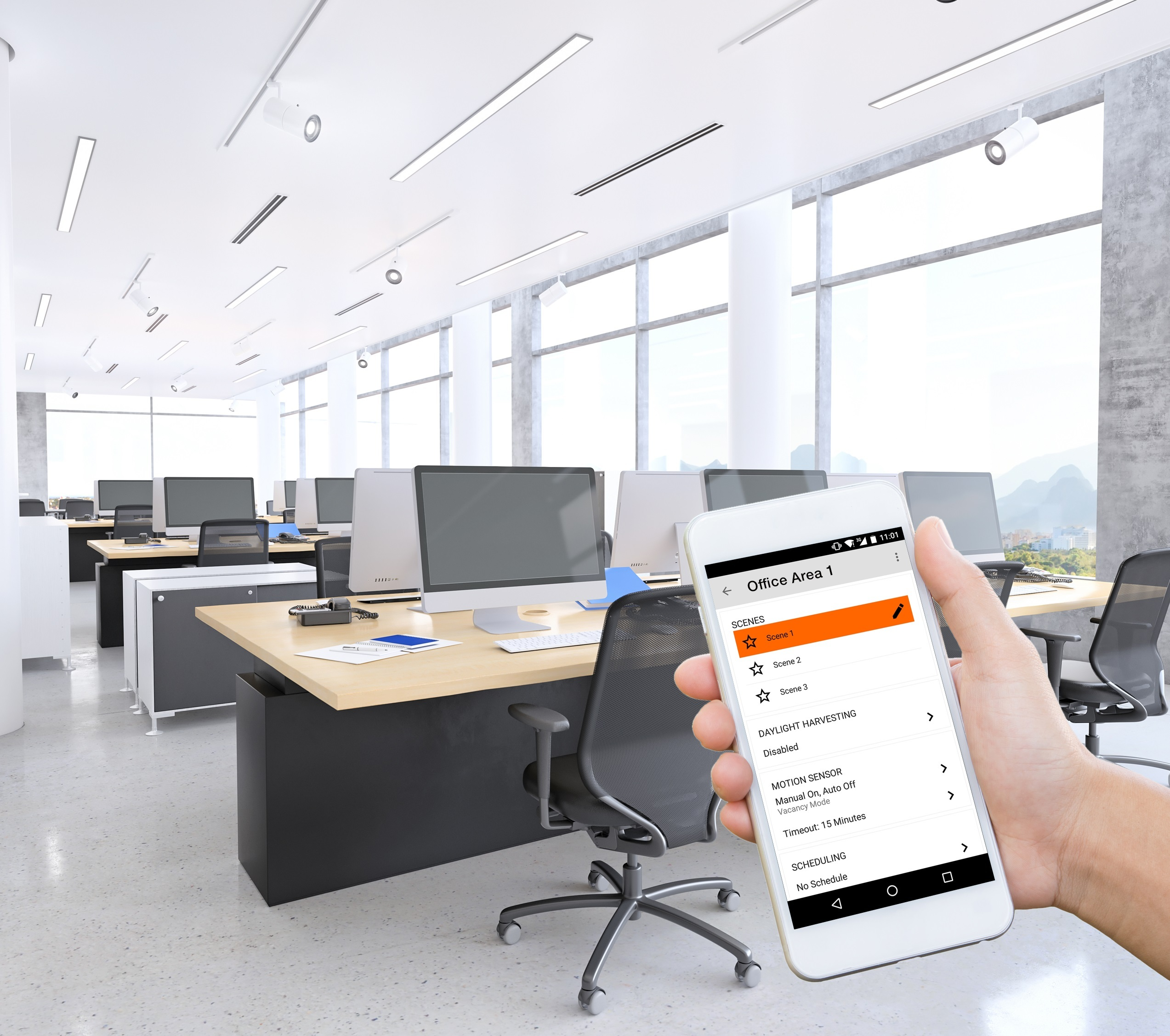 Osram Wireless Lighting Control System Supports Luminaire Choice; Offers Easy Upgrade Path for Small- to Mid-Sized Commercial Spaces (Photo: Business Wire).