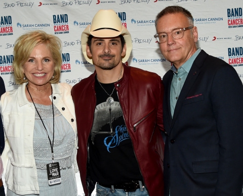 NASHVILLE, TN - APRIL 23: Dee Anna Smith, CEO, Sarah Cannon, Singer/Songwriter Brad Paisley, Randy Goodman, Chairman & CEO, Sony Music Nashville attend 2017 Sarah Cannon Band Against Cancer & Brad Paisley LOVE AND WAR Album Launch Event on April 23, 2017 in Nashville, Tennessee. (Photo by Rick Diamond/Getty Images for Sony Music)