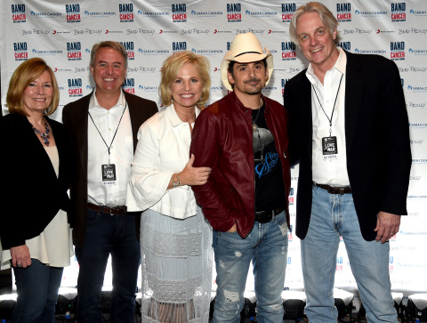 NASHVILLE, TN - APRIL 23: Heather Rohan, President, TriStar Health, Dr. Jeff Patton, CEO, Tennessee Oncology, Dee Anna Smith, CEO, Sarah Cannon, Singer/Songwriter Brad Paisley, Dr. Fred LeMaistre, SVP, Sarah Cannon attend 2017 Sarah Cannon Band Against Cancer & Brad Paisley LOVE AND WAR Album Launch Event on April 23, 2017 in Nashville, Tennessee. (Photo by Rick Diamond/Getty Images for Sony Music) Keywords - Arts Culture and Entertainment Photo Credit - Getty Images for Sony Music