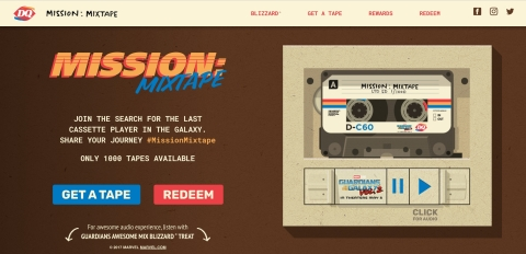"Starting April 26 at 12 p.m. CDT, Fans can claim one of 1,000 Mission Mixtapes at MissionMixtape.com. Once claimed, Fans must search the galaxy for a cassette player to play the tape and get a special code for prizes ranging from limited edition, cast-signed Marvel Studios' ""Guardians of the Galaxy Vol. 2"" movie posters to DQ gift cards. Fans can share their missions or follow along with #MissionMixtape. (Photo: Business Wire)"