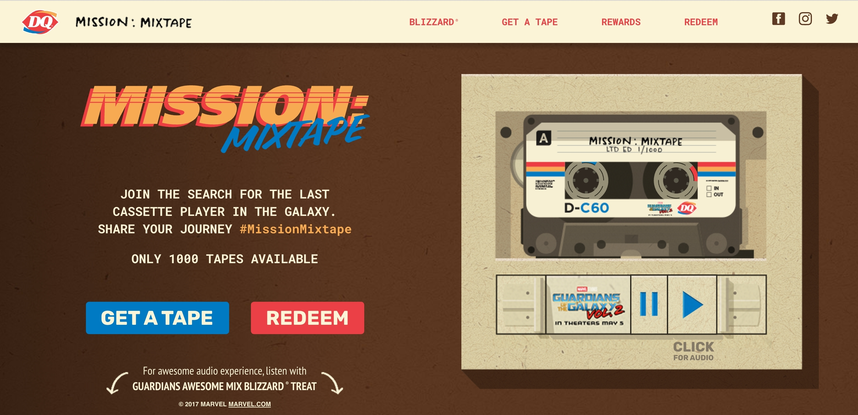 """Starting April 26 at 12 p.m. CDT, Fans can claim one of 1,000 Mission Mixtapes at MissionMixtape.com. Once claimed, Fans must search the galaxy for a cassette player to play the tape and get a special code for prizes ranging from limited edition, cast-signed Marvel Studios' """"Guardians of the Galaxy Vol. 2"""" movie posters to DQ gift cards. Fans can share their missions or follow along with #MissionMixtape. (Photo: Business Wire)"""