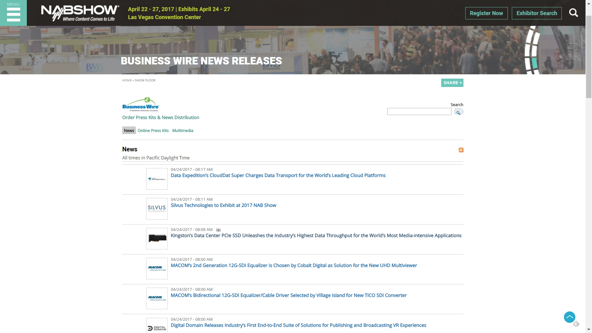 Business Wire will be making breaking exhibitor news releases available through an exhibitor news archive on the 2017 NAB Show site. (Graphic: Business Wire)