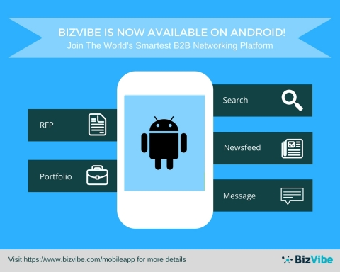 BizVibe is now available for download on the Google Play Store (Graphic: Business Wire)
