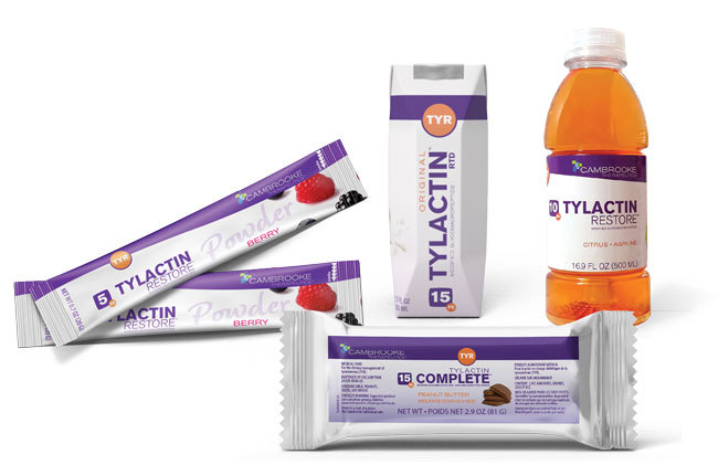 The Tylactin™ family of products includes bars, drinks, powder and more for the dietary management of Tyrosinemia (TYR). (Photo: Business Wire)